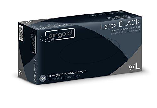 Bingold - Lote de 100 guantes desechables de látex, sin polvo, Negro, L