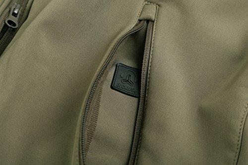Mochoose Herren Outdoor Mountain Wasserdichte Windbreaker Jacken Fleece Softshell Ski Kapuzenjacke Sportbekleidung Regenmantel Camping Angeln Jagd Arbeitsjacke Grün
