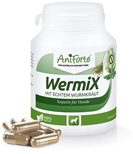 AniForte WermiX für Hunde 100 Kapseln – Natürlicher Wurmfeind, Naturprodukt Bei und Nach Wurmbefall, Natur Pur, Ohne Chemie