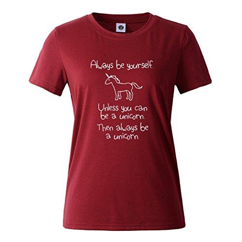 Yeesea Donna Estate Casual Manica Corta Stampato Camicetta T Shirt Tops Vino rosso