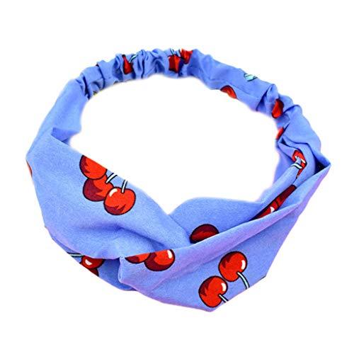 VIccoo Literarische Mädchen Urlaub breites Stirnband süße Kirsche Obst Print Frauen Haarband Criss Cross geknotet elastische Make-up Wash Gesicht Turban - Himmelblau