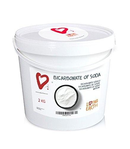 2kg - living earth – bicarbonato di sodio – qualitÀ alimentare - secchio da 2kg – un'ottima alternativa per la pulizia della casa e la cura personale. pulizia ecologica, senza sostanze chimiche, economico. elimina macchie e cattivi odori.