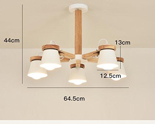5-licht-esszimmer-kronleuchter (DHG Nordic Kronleuchter, Massivholz einfache Moderne atmosphärische LED Wohnzimmer Lampen, kreative Persönlichkeit Schlafzimmer Esszimmer Kronleuchter,Weiß,5 Köpfe)