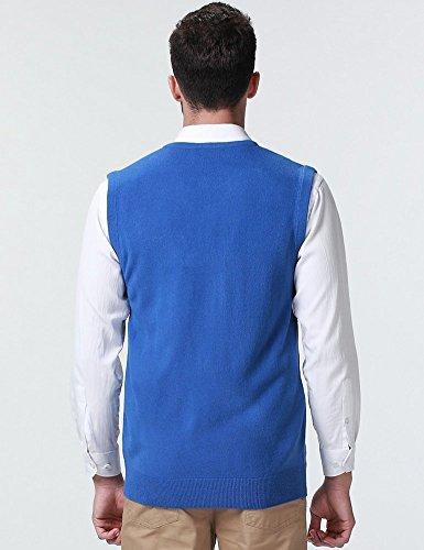 SSLR Herren V-Ausschnitt Pullunder Blau