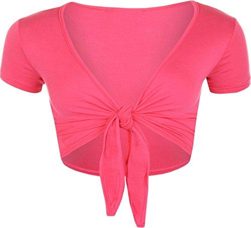 Islander Fashions Damen Kurzarm Plain Front Krawatte Bolero Top Damen Phantasie Cropped Cardigan Shrug Cerise Medium/Large -