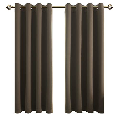 FLOWEROOM Blickdichte Gardinen Verdunkelungsvorhang - Lichtundurchlässige Vorhang mit Ösen für Schlafzimmer Geräuschreduzierung Taupe 175x140cm(HxB), 2er Set - Schlafzimmer Set Für