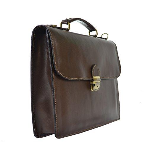 CTM Unisex Business-Tasche, Aktentasche aus echtem Leder hergestellt in Italien D7004 - 38x27x7 Cm Dunkelbraun