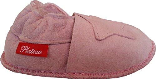Plateau Tibet - VERITABLE laine d'agneau Bottines Chaussures Chaussons en cuir souple doublure pour bébé garçon fille enfant - 6 COULEURS - Étoile Rose Clair (Light pink)
