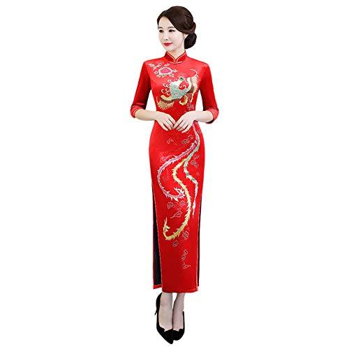 Hzjundasi Cheongsam de Las Mujeres - Qipao Vestido de Novia Chino Oriental Traje Ropa Tradicional