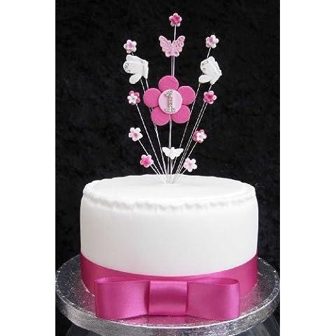 Decoración para tarta para el primer cumpleaños rosa y blanco flores y mariposas ideal para tarta pequeña o Cupcake Plus 1x M 25mm color rosa satén cinta lazo Plus