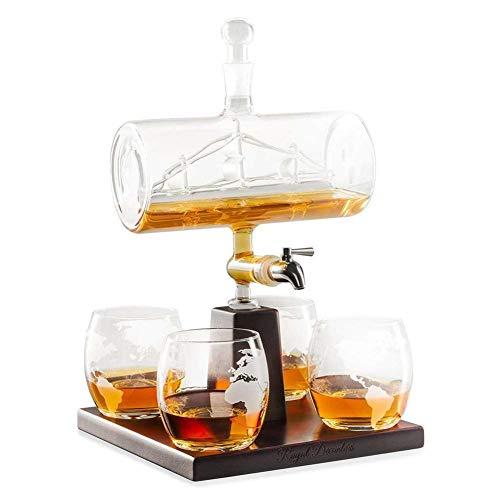 Mr. Fragile 1000 ml Licorera de Whisky,Viene con 4 Copas grabadas con diseño del Mundo,para Brandy Tequila Bourbon Ron escocés, Papa