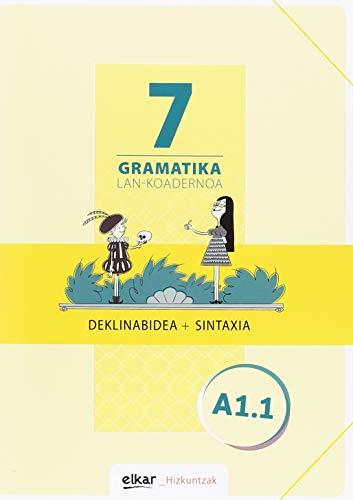 Gramatika. Lan-koadernoa 7 (A1.1): Deklinabidea + Sintaxia (Hizkuntzak)