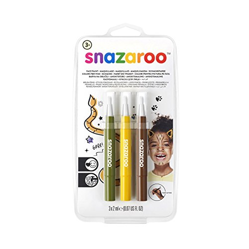 Snazaroo Set de 3 Rotuladores de Maquillaje 'Jungla', color amarillo, marron, verde