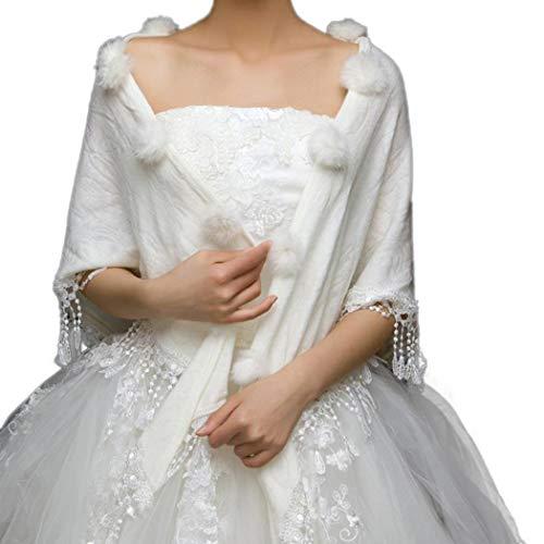 DreamyDesign Damen Pelz Bolero Braut Hochzeit Hochzeit Stola-Schal Bolero für Brautkleid Warm...
