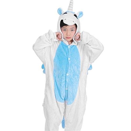 Gugutogo Kinder Cute Animal Footed Pyjama Einteilige Sleeper Full Sleeve Pyjama (Farbe: blau) (Größe: 120) (Tragen Footed Pyjama)
