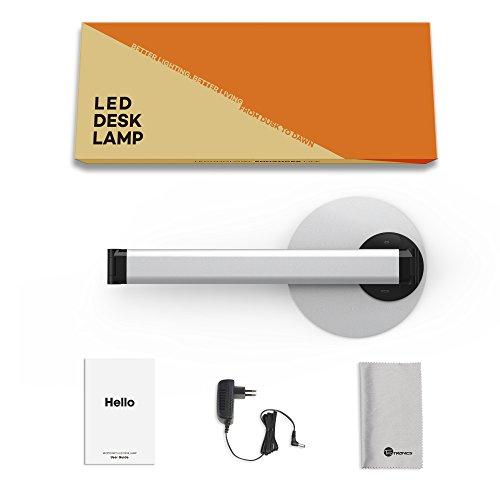 Lampada da Scrivania TaoTronics, Lampada da Tavolo Ufficio LED 12W con 6 Luminosità + 3 Temperature di Colore, Porta di Ricarica USB per Smartphone, LED Occhi-Cura, Funzione Memoria – Grigio Argento - 2