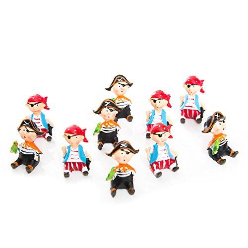 Logbuch-Verlag 10 Piraten maritime Deko 5 rot blaue + 5 schwarze Seeräuber Mini-Figur Tisch-Deko Gastgeschenk Kindergeburtstag Jungen Glücksbringer