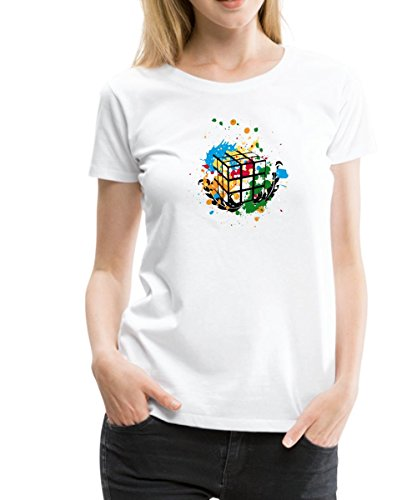 Spreadshirt Rubik's Cube Zauberwürfel Splatter Frauen Premium T-Shirt, S, Weiß (Splatter-premium-t-shirt)