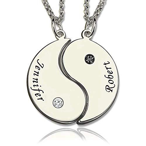 Damofy Personalisierte Ying Yang Kette freundschaftskette für 2 - Partner Ketten für sie und ihn,Beste Freunde, Liebhaber und Paare, 2 legierte Halsketten