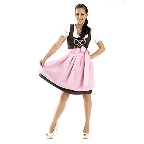 Almbock Mini Dirndl Rosi schwarz-rosa in Gr. 34 36 38 40 42 44 - Oktoberfest-Outfit 3-tlg. mit passender Dirndl-Schürze und Dirndl-Bluse mit