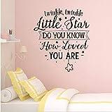 Zlxzlx Twinkle Little Star Wand Zitat Aufkleber Kinderzimmer Kinderzimmer Dekor Wie Sie Geliebt Werden Zitat Wall Decal Satrs Vinyl Wandbild 57 * 64Cm