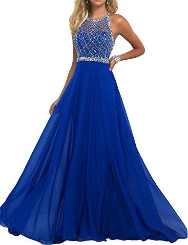 Blau Formale Size Plus Kleider (Hotprom Damen A-Linie Halfter R¨¹ckenfrei Perle Chiffon Lange Ballkleider Abendkleider Abschlussballkleid Formale Kleider Gr??e 32 Blau)