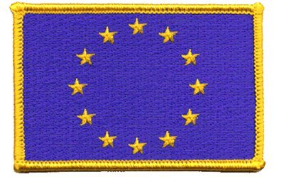 "The Flag of EUROPEAN UNION PATCH, Superior Quality Iron-On / Saw-On Embroidered Patch - Each one is individually carded and sealed in a professional retail package - 3.5"" x 2.25"" Inches - Made in the USA"