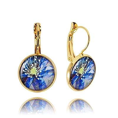 Charmantes Boucles d'Oreilles Gouttes Fleur de couleur Bleu Roi et Jaune; Cadeau Insolite Anniversaire pour Femme; Dimension 2.8x1.4cm