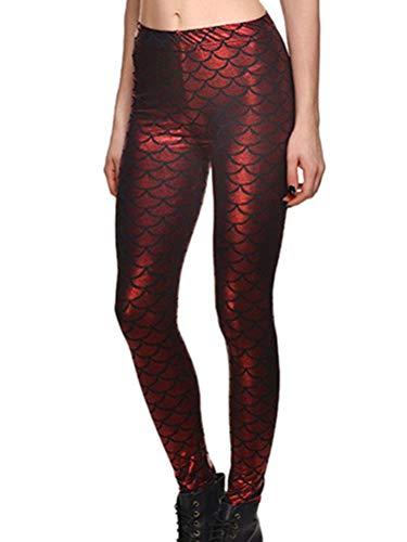Minetom Mujer Leggings Push Up Skinny Pantalones Brillante Chic Escamas De Pescado Cintura Alta Elásticas Leggins Fitness Nocturno Disco Partido Carnaval Fiesta Rojo XS