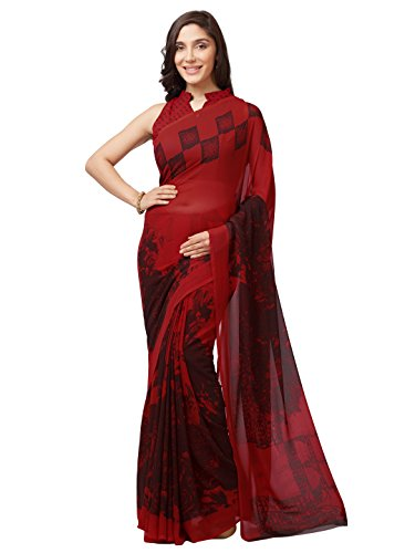 SOURBH Women's Faux Georgette Printed Saree (7632_Red_FreeSize)