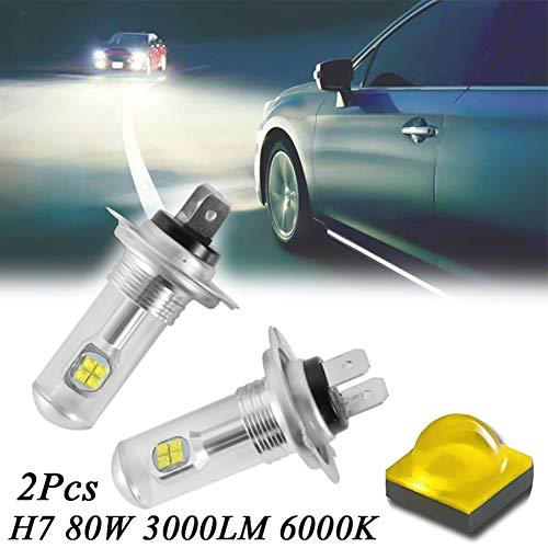 2 bombillas H7 80 W 3000 LM 6000 K CREE LED antiniebla DRL para faros delanteros de coche, color blanco