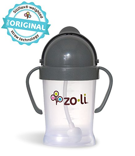Zoli BOT 6 Ounce | Siliflex Weighted Straw Sippy Cup, BPA Free, Grey