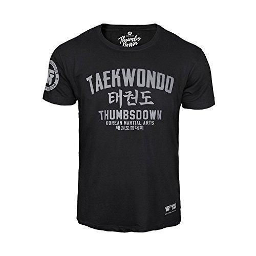 Thumbsdown Thumbs Down Taekwondo Camiseta Coreano Marcial Artes MMA. Gimnasio Entrenamiento. Informal - Negro, Large