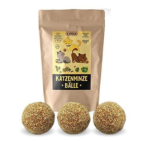 3x Katzenminze Ball | Naturprodukt | Besteht aus 100% natürlicher Katzenminze | Entspannung für Katzen | Katzenspielzeug…