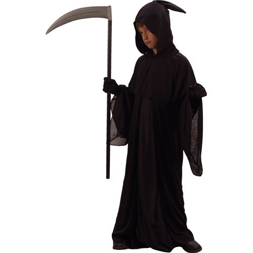 Grim Reaper Jungen Halloween / Karnival Kostüm Large 8/10 Years - 134-146cm (Grim Reaper Kostüm)