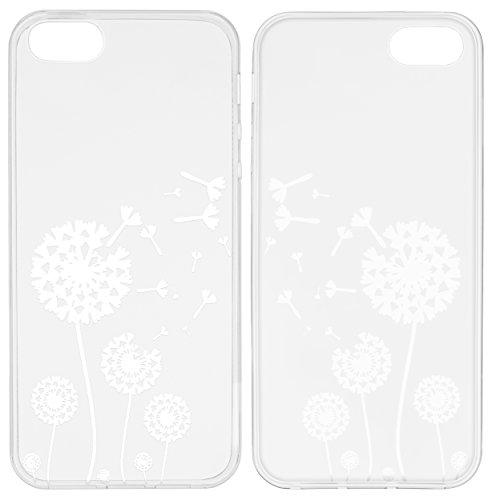 mumbi TPU Silikon Schutzhülle für iPhone SE 5S 5 Hülle in schwarz Pusteblume