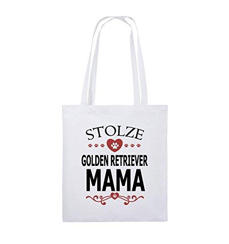 Comedy Bags - Stolze Golden Retriever Mama - HERZ - Jutebeutel - lange Henkel - 38x42cm - Farbe: Schwarz / Weiss-Neongrün Weiss / Schwarz-Rot