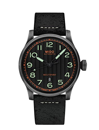 Mido Men's 44mm Black Leather Band Case Automatic Analog Watch M0326073605009