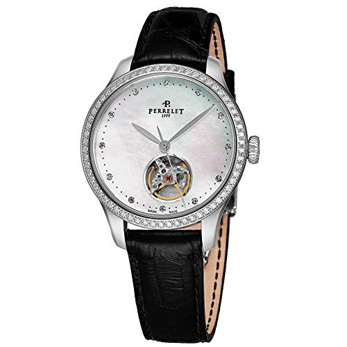 Perrelet Women's 35mm Black Alligator Leather Band Automatic Watch A2069-1