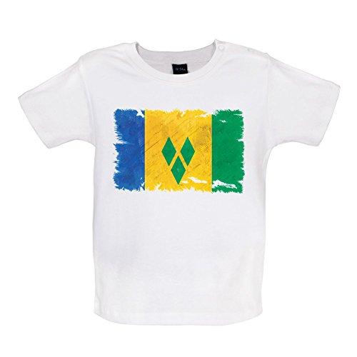 Saint Vincent and the Grenadines / St. Vincent und die Grenadinen Flagge im Grunge-Stil - Baby T-Shirt - Weiß - 18 bis 24 Monate