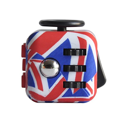 Walwh Relieves Stress and Anxiety Cube Edc Fidget Toy for Children and Adults (UK Flag)