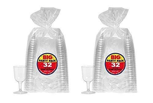 2Packungen von 32Amscan 5,5OZ klar wiederverwendbar Kunststoff Weingläser Cocktail und Getränk Party Drinkware und Barartikel von Maven Gifts