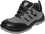 Allen Cooper 1156 Men's Buff Suede Leather with Black Cordura Safety Shoe, Size-9 UK, Grey (1 Pair Free So