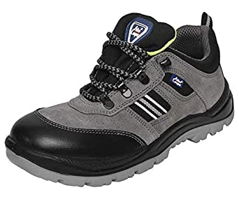 Allen Cooper 1156 Men's Safety Shoe, Size-8 UK, Grey (1 Pair Free Socks)