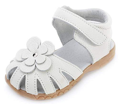 Mädchen Geschlossene Leder Sandalen Baby Lauflernschuhe mit Klettverschluss Sommer Kinderschuhe,Weiß,Gr.23