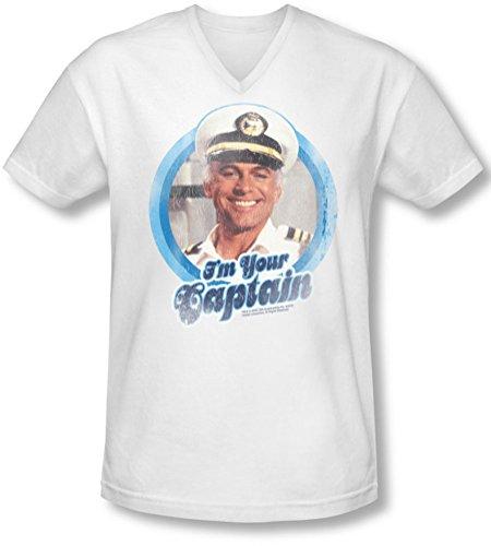 Love Boat - Herren Ich bin Ihr Kapitän V-Neck T-Shirt, X-Large, White