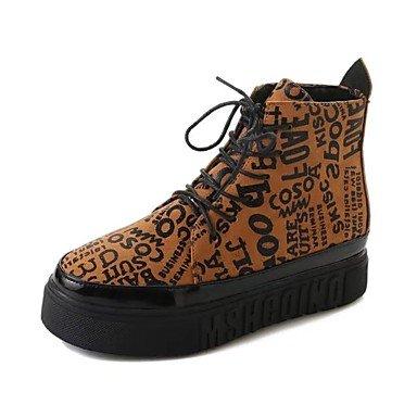 Rtry Femmes Chaussures Pu Automne Hiver Mode Bottes Bottes Talon Plat Rond Dentelle-toe Pour Casual Noir Brun Us6 / Eu36 / Uk4 / Cn36