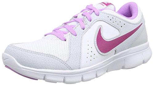 Nike Flex Experience Leather (Gs), Chaussures de course mixte enfant Blanc - Weiß (White-Fuchsia Glow-Pure Platinum-Fuchsia)
