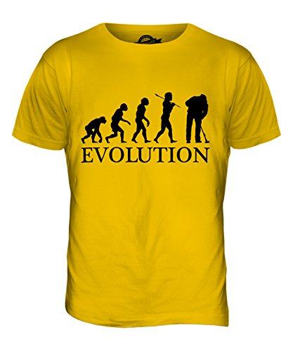 CandyMix Addetto Alle Pulizie Evoluzione Umana T-Shirt da Uomo Maglietta Giallo Scuro