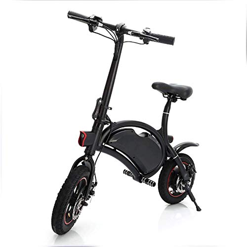Bicicleta Eléctrica 12 Pulgadas De Cuerpo Plegable E-Bike Scooter Con 12 Millas De Rango, Configuración De Velocidad De La APLICACIÓN, 36V 350W Motor Trasero Bicicleta Eléctrica, Frenos De Disco Mecánicos,Black